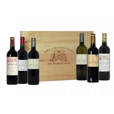 Coffret bois 6 bouteilles Bordeaux a 360°